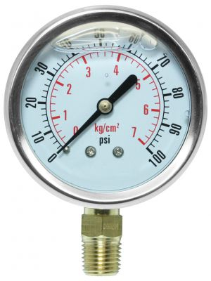 Glycerine Filled Pressure Gauge - 0-100 PSI