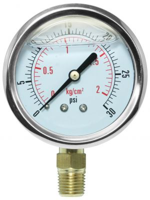 Glycerine Filled Pressure Gauge - 0-30 PSI