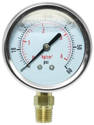 Glycerine Filled Pressure Gauge - 0-60 PSI
